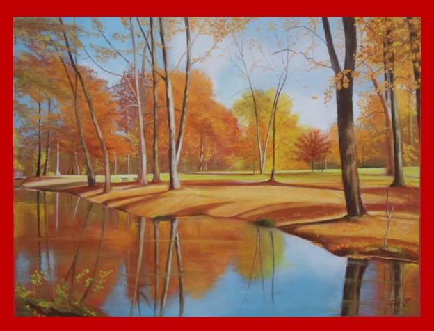 pastel paysage automne